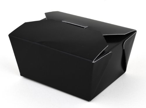 Southern Champion Tray 0781 #1 ChampPak Retro Take-Out Container, Black Paperboard with Poly Coated Inside, 4-3/8