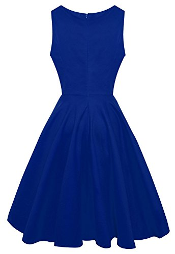 Anni Coco® Women's Classic 1950s Vintage Hepburn Dresses Blue Small