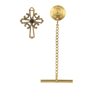 The Vatican Library Collection Gold Tone & Ruby Open Cross Tie Tack