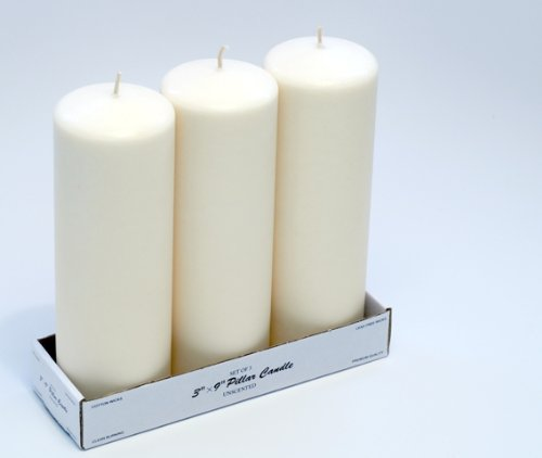 3 x 9 pillar candles bulk 12 pcs ivory 769251788401 for Kitchen colors with white cabinets with cheap votive candle holders in bulk