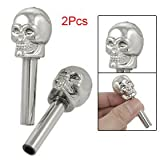 2 Pcs Silver Tone Plastic Skull Door Lock Knobs for Auto Car