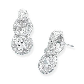 Rhodium Plated CZ Knot Design Earrings