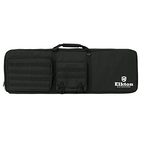 Elkton Outdoors Tactical Gun Shooting Bag With Built In Shooting Mat and Backpack Straps- Soft Rifle Case