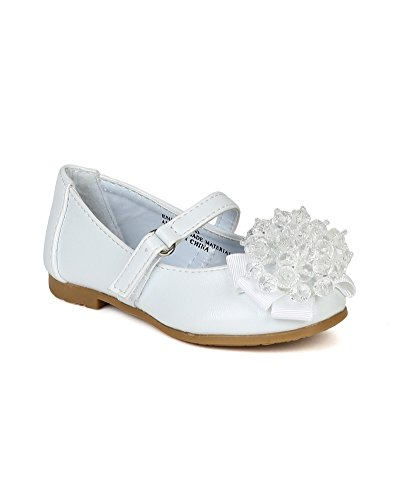 Little Angel Bc44 Leatherette Clear Beads Ribbon Ballet Flat (Toddler) - White (Size: Toddler 5)