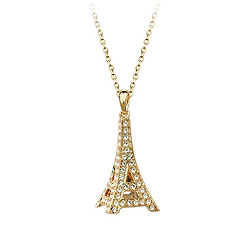 3D Paris Eiffel Tower With Clear Cubic Zirconia Crystal Necklace Fashion Jewelry For Women (Necklace)