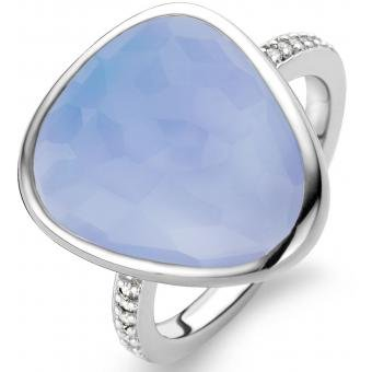 Ti Sento Women's Ring Silver Rhodium Plated Blue stone - Size 23 - 12001la/58