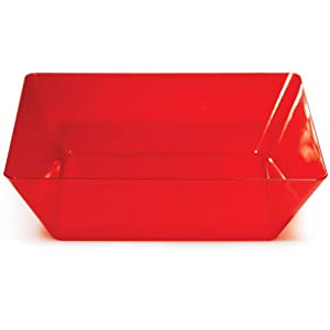 Creative Converting Square Plastic Serving Bowl, 11-Inch, Translucent Red by Creative Converting