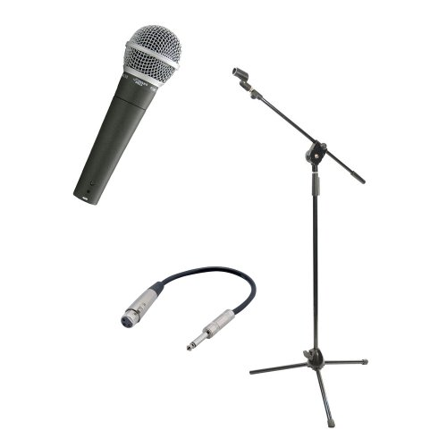 Pyle Mic And Stand Package - Pdmic58 Professional Moving Coil Dynamic Handheld Microphone - Pmks3 Tripod Microphone Stand W/ Extending Boom - Ppfmxlr01 12 Gauge 6 Inch 1/4'' To Xlr Female Cable