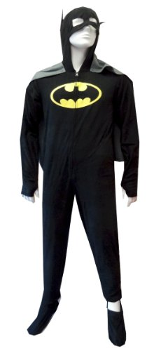 Batman / Batgirl Hooded Fleece Onesie Footie Pajama With Cape For Men (2X) front-452164