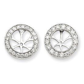 14k White Gold Diamond Earrings Jackets - JewelryWeb