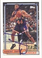 Hubert Davis New York Knicks 1992 Topps Draft Pick Autographed Hand Signed Trading... by Hall of Fame Memorabilia