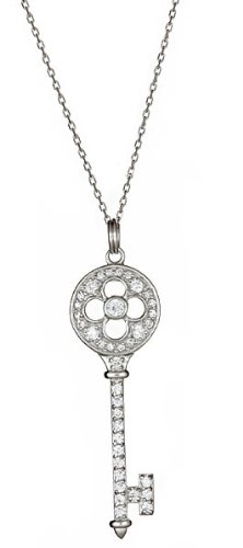 Sterling Silver CZ Rose Key Necklace 20