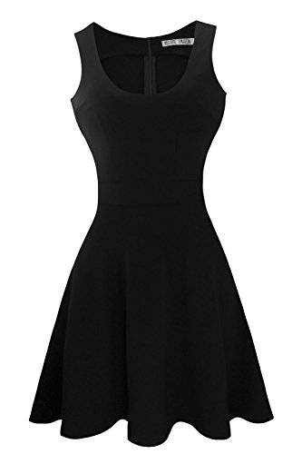 Heloise Women's A-Line Wide Round Neck Sleeveless Pleated Little Cocktail Party Dress (S, Black)