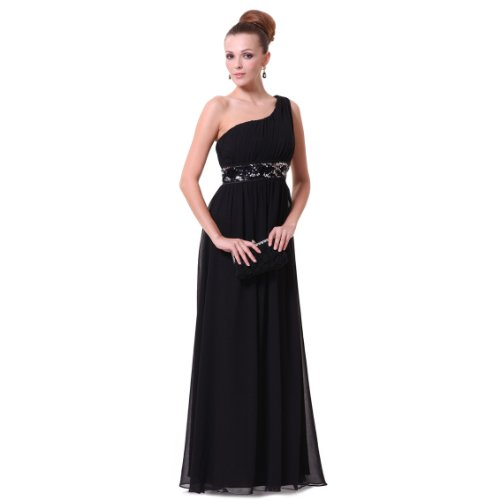 Ever Pretty Black One Shoulder Empire Line Sequins Padded Long Evening Gown 09770, HE09770BK10, Black, US8