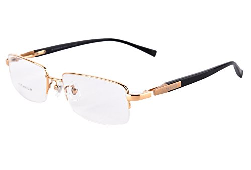 Agstum Titanium Half Rim Glasses Frame Prescription 55-18-145 (Gold) (Spectacle Frame compare prices)