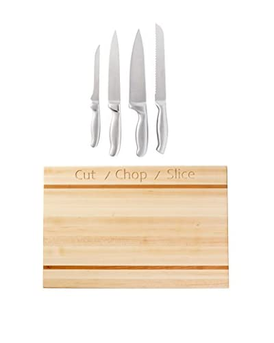 French Home Cut Chop Slice Cutting Board & Kitchen Knife Set