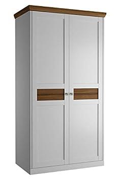 Drehturenschrank / Kleiderschrank Rasina 14, Farbe: Weiß / Eiche geölt, teilmassiv - Abmessungen: 104 x 197 x 62 cm (B x H x T)