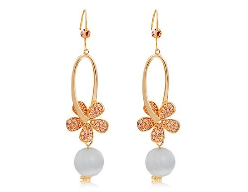Blqyy 18K Rgp Alloy Crystal & Opal Decoration Earrings M.By Chonlyshop