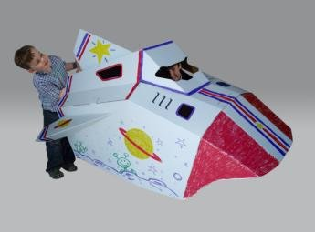 Corrugated Space Shuttle Kids Rocket Ship - Markers Included