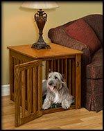 Amish Made Wood Dog Crate Large Oak Wood front-9027