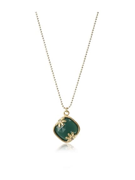 Indulgems 18K Gold-Plated Green Onyx Pendant Necklace