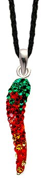 Silver Hot Chilli crystal Pendant - 3D bling bling!! -necklace is adjustable size 16