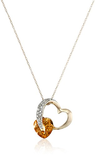 10k Yellow Gold Heart Citrine and Diamond Pendant Necklace (1/10 cttw, I-J Color, I2-3 Clarity), 18""