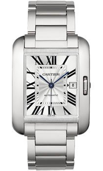 Cartier Tank Anglaise Silver Dial 18kt White Gold Mens Watch W5310025