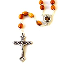 Olive wood Rosary with Holy Land earth - Soil - With Certificate of Authenticity