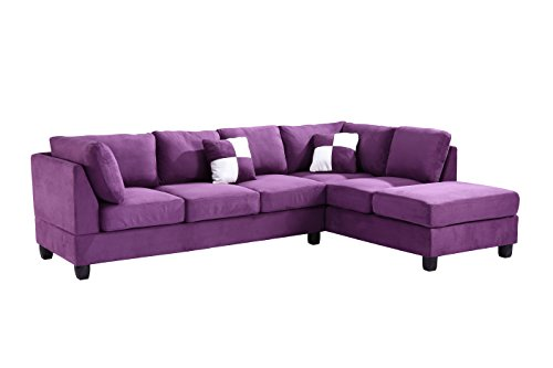 Glory Furniture G637-SC Sectional Sofa, Purple, 2 boxes
