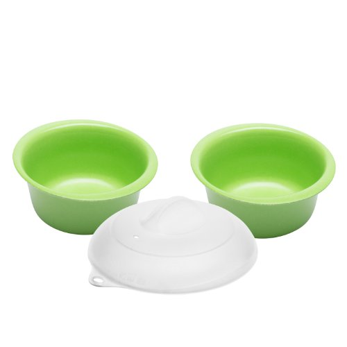 Zak Designs Zakwave Microwave-Safe Bowl and Lid, Palm Green, Set of 3