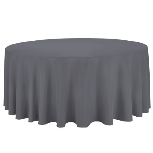 Linentablecloth Round Polyester Tablecloth, 132-Inch, Charcoal front-9274