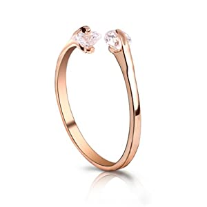 Fashion Plaza 18k Gold Plated Use Two Use Cubic Zirconia Crystals Cute Ring R22 Size 7