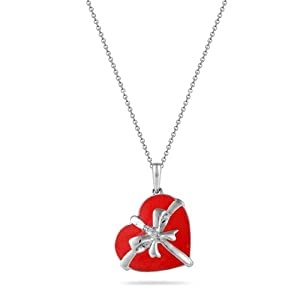 Sterling Silver Heart with Diamonds Pendant Necklace (0.02 cttw, I-J Color, I2 Clarity), 18""