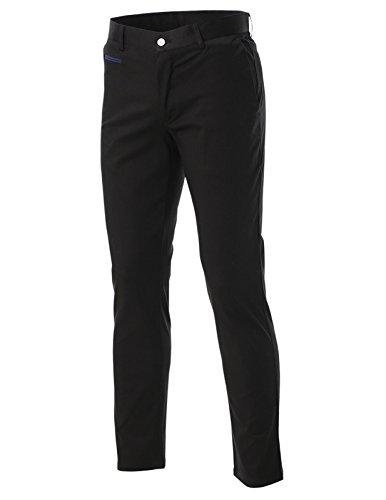 FLATSEVEN da uomo Slim Fit-Pantaloni Chino-Pantaloni in cotone CH501 Black W32
