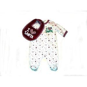 Circo - I Love Santa Romper with Bib - (Newborn) (Newborn)