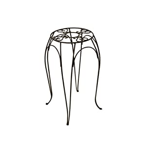 Panacea 89154 Cameo Round Plant Stand, Brown, 8.375-Inch  by 10-Inch Height