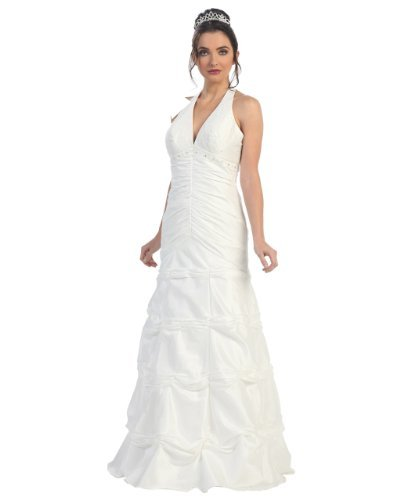 Fine Brand Shop Ladies Off-White Beaded Long Quinceanera Halter Dress - X-Large