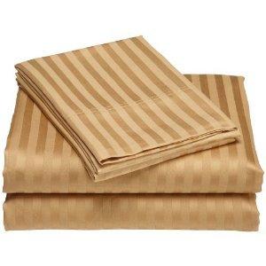 Wrinkle-Free Damask Stripes gold California King size Microfiber sheet set, deep pocket, 95gsm ,100% Microfiber
