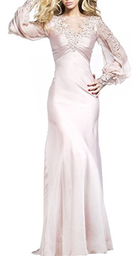 Butterfly Paradise Floral Appliques Satin Long Sleeved Gown