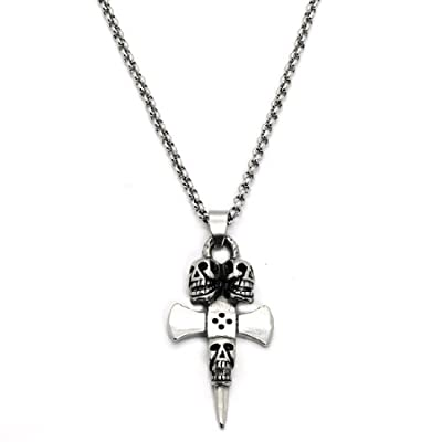 2 PIECE SET: 20-Inch Stainless Steel Rolo Chain Necklace / Jewelry With Skeleton Skulls & Cross Pendant (LIFETIME WARRANTY) by Eterno