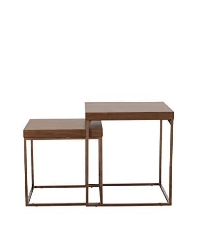 Urban Spaces Essence Nesting Table, Light Walnut