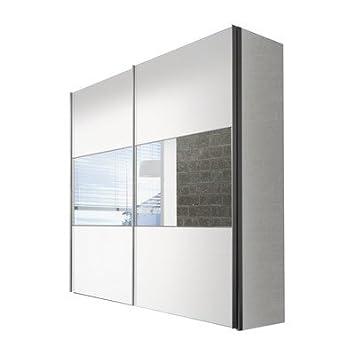 Solutions 01760-182 2-turiger Schwebeturenschrank, weiß mit Spiegel, Holz, 68 x 225 x 216 cm