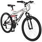 24 Mongoose Ledge 2.1 Boys' Mountain Bike, Silver/Red