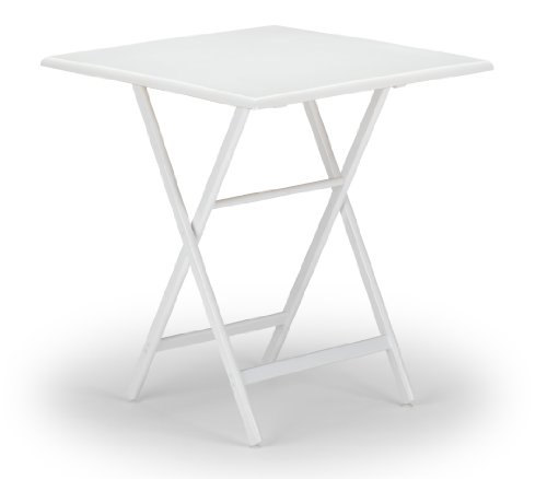 Telescope Casual 36-Inch Square Wood Accessory Table, Adjustable Height, 34.5-Inch and 40-Inch, White Base and Top