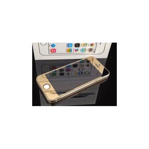 iPhone5/5s/5c 0.2mm 強化ガラス 液晶保護フィルム 【iphone & iPad 用 ホームボタン シール 2個 付き】 /ケース カバー ゴールド,白×金