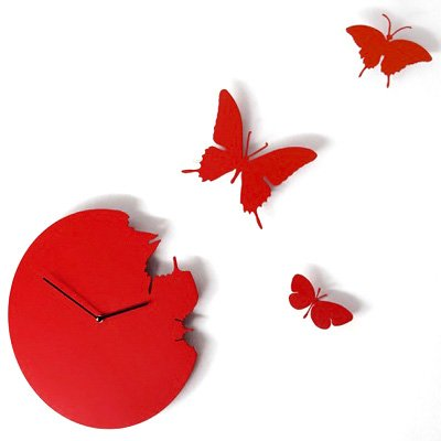 Red Butterfly Wall Clock