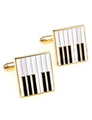 Gold with white and black enamel Piano Cufflinks from Cuff/IN for all music lovers