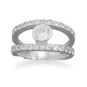Sterling Silver Rhodium Plated 2 Row CZ Ring with 6mm Bezel CZ Center / Size 7