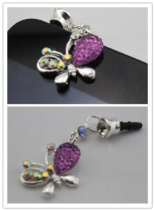 Big Dragonfly Crystal Bling Rhinestone Butterfly Shape 3.5Mm Headphone Jack Anti Dust Plug Ear Cap For Iphone 5,4,4S,Ipad ,Ipod Touch ,Samsung Galaxy S3 S4 Note 2 Note2,Htc,Blackberry And Other Cellphone Purple (Color Varies)